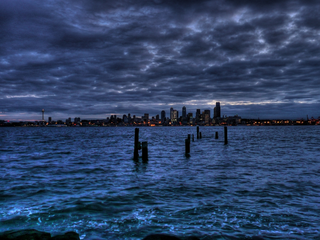 Puget Sound and Seattle from Alki Beach - B K